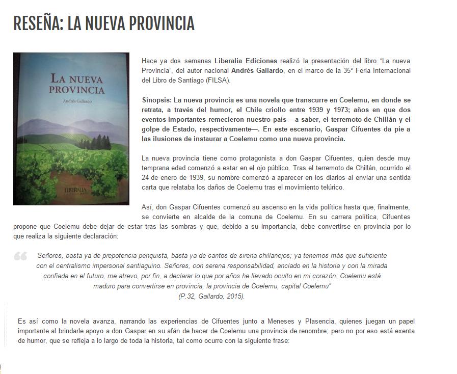 Reseña: La nueva provincia